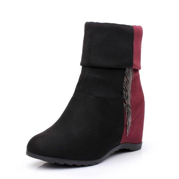 馬丁靴女新款短靴春秋內增高女靴高跟中短筒靴子平底坡跟單靴 〖聚時代〗ES