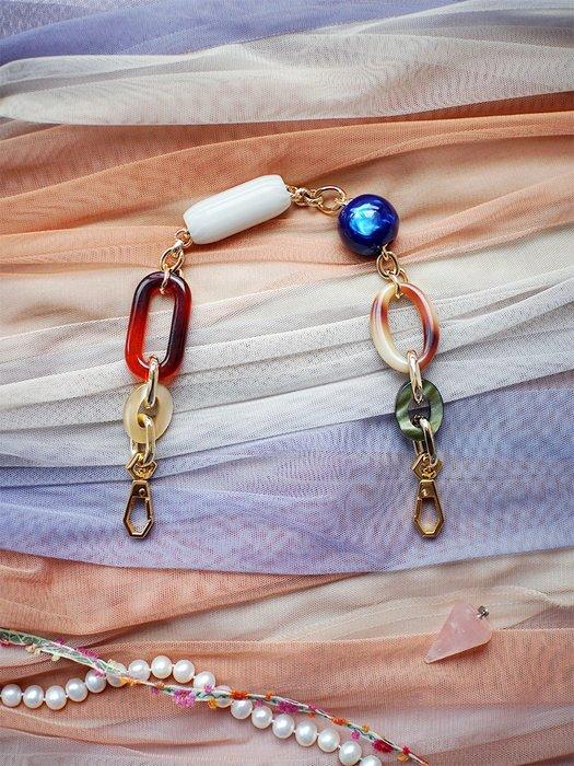 淘淘樂-原創復古寶石包鏈條亞克力樹脂包帶時髦包改造diy配件手拎手提帶