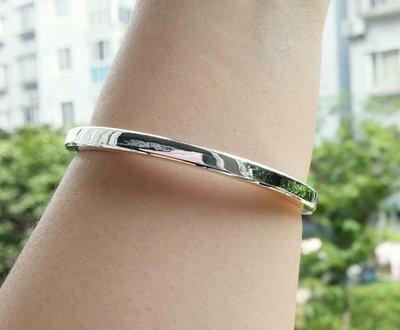 嗨,寶貝銀飾珠寶* 925純銀☆999純銀 光面方形 實心 開口純銀手環 手鐲(寬及厚4mm) 超級有份量
