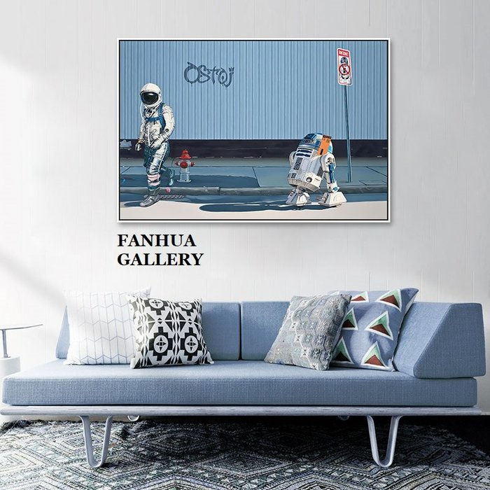 C - R - A - Z - Y - T - O - W - N 創意美式潮流宇宙太空人宇航員掛畫小眾藝術展示裝飾畫