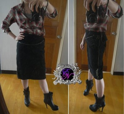 Nejma 日本名品日本製Snarl extra獨一無二別緻拉鍊綴飾設計後開衩peplum豚革皮裙