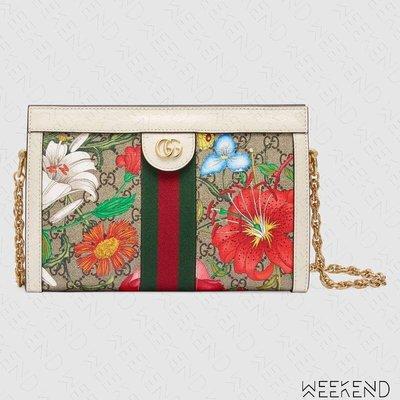 【WEEKEND】 GUCCI GG Ophidia Flora 花朵 金鏈 肩背包 方型 白色 503877 20春夏
