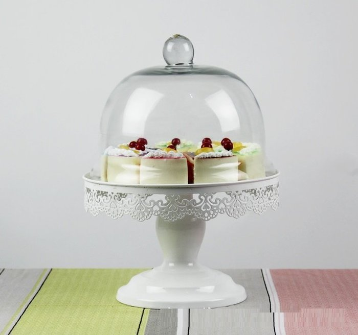 【愛麗絲生活家飾雜貨】歐式下午茶鐵藝玻璃蛋糕罩/點心罩/食物罩/婚禮佈置/櫥窗設計擺飾