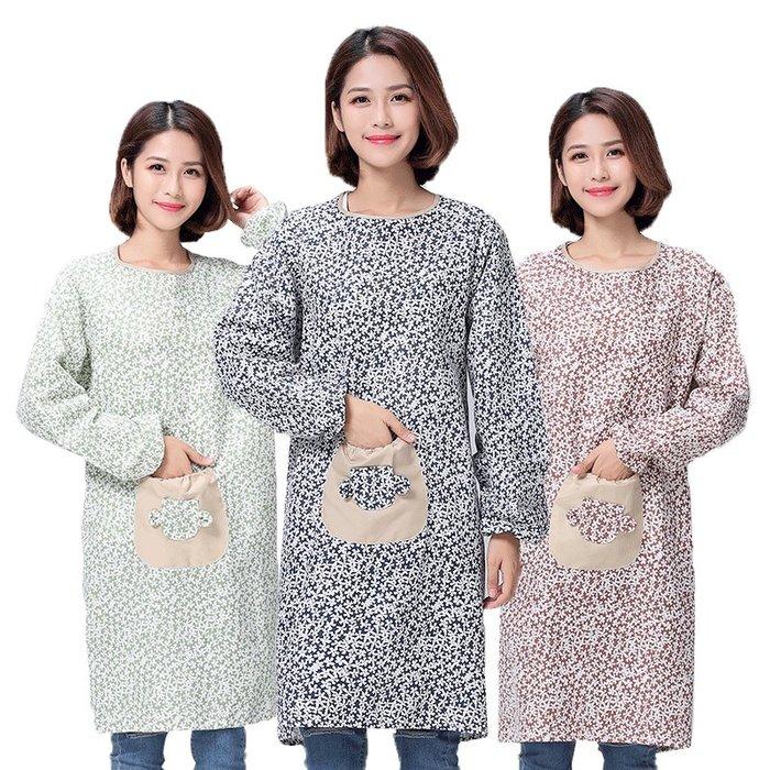 【berry_lin107營業中】韓版長袖棉麻圍裙日系廚房做飯圍裙防油防污成人工作服罩衣