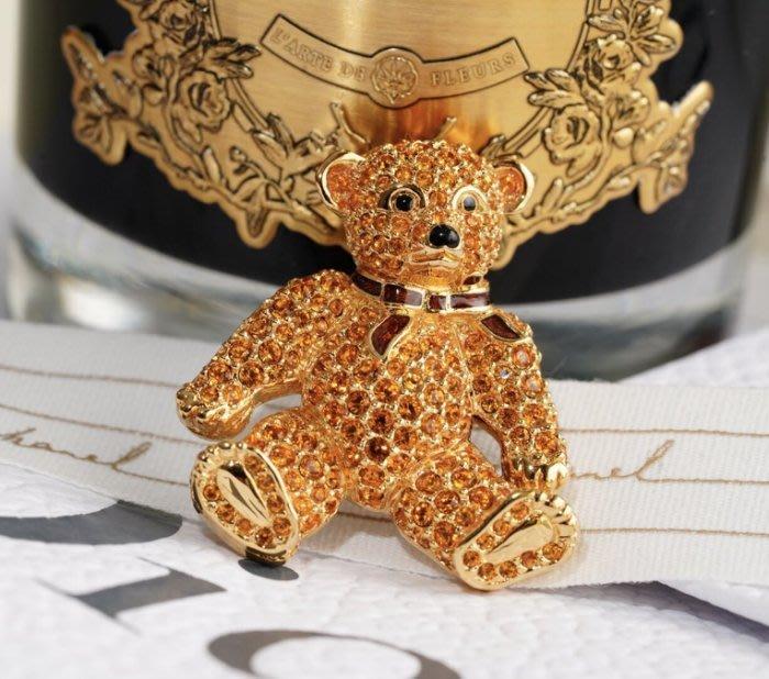 Swarovski 施華洛世奇 Teddy Bear 水晶小熊別針 金