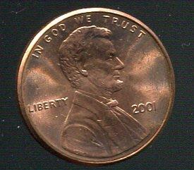 【錢幣】United States(美國),1-CENT,2001,林肯,品相全新UNC #1907298