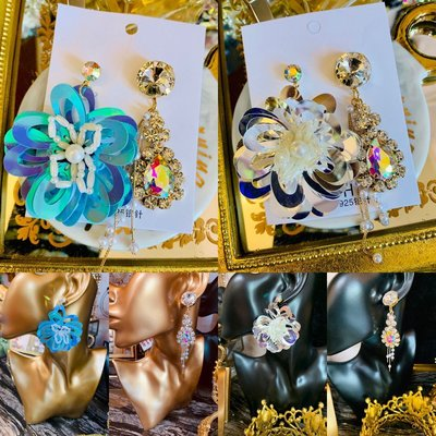 小香風禮服花朵水鑽寶石不對稱耳環