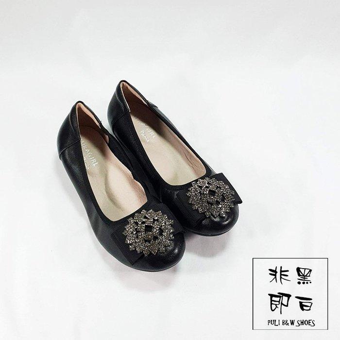 【非黑即白】2019冬季冰晶專櫃真皮女娃娃鞋 平底鞋 低跟鞋 楔型鞋 黑色 328875