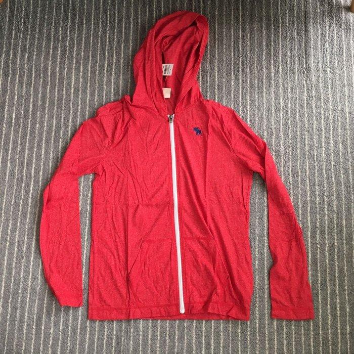 美國帶回 現貨 AF A&F Abercrombie&Fitch kids classic full-zip hoodie 紅色男童連帽外套XL 女生也可穿