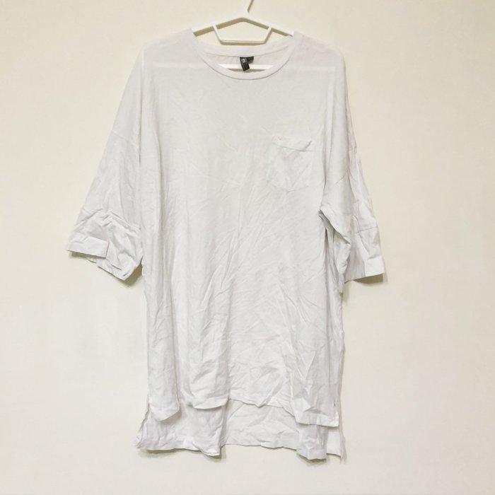 【GT】二手 Asos 白 短袖T恤 寬鬆 落肩 寬版 長版 純棉 內搭 上衣 素T 短T 口袋T 前短後長