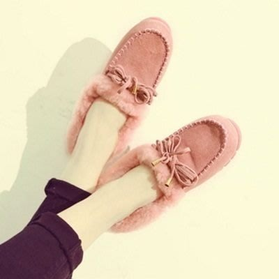 豆豆鞋羊毛絨平底鞋-休閒鞋韓版時尚磨砂真皮女鞋子3色72o9[獨家進口][米蘭精品]