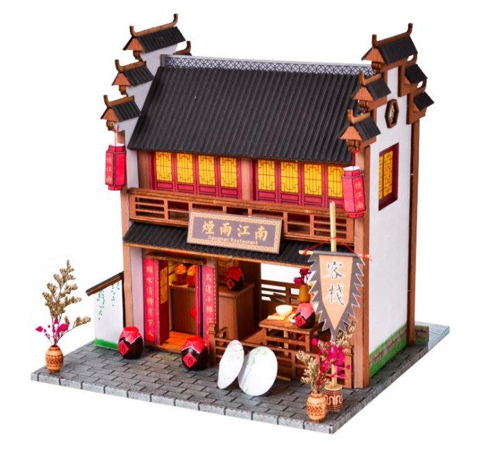 【批貨達人】煙雨江南 手工拼裝 手作DIY小屋袖珍屋 帶防塵罩 迷你屋 創意小物生日禮物