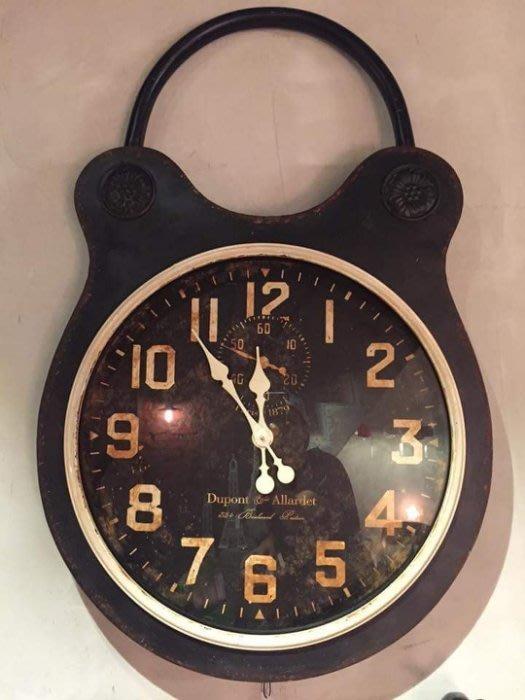 【曙muse】北歐復古造型時鐘 懷錶鎖頭造型吊鐘 掛鐘 鐵質鏽面大掛鐘 loft 工業風 咖啡廳 民宿 餐廳 住家