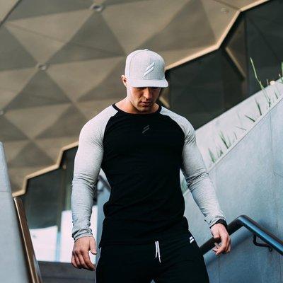 歐美健身服 肌肉兄弟健身T恤男士彈力運動健身T恤長袖速干T恤修身圓領打底衫