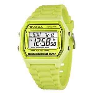 【元電】【JAGA 專賣店】台灣設計 捷卡 M1103-F(綠) 電子錶 大數字 倒數計時 鬧鈴 兩地時間