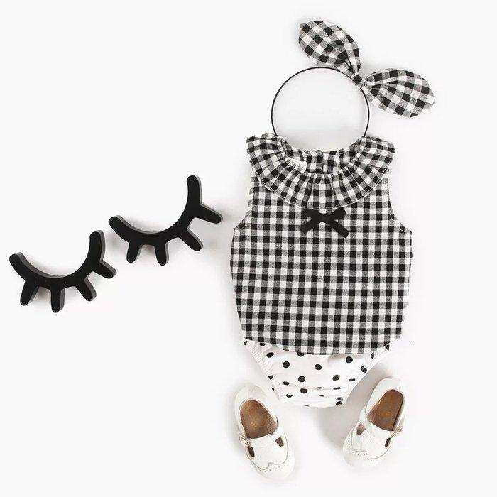 2019夏季新款嬰兒 baby 格子背心+波點三角pp 褲兩件套@KK.KIDS