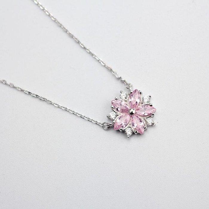 櫻花項鏈森系小清新鎖骨鏈日系粉色水晶吊墜女學生飾品 GB4326