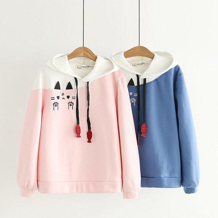【43107】圓領 日系森女系貓咪印花加絨長袖上衣。☆*藍荳荳小舖*☆(現貨)