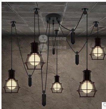 【易發生活館】設計師的燈 Loft2 餐廳吧臺美式鄉村工業復古 升降伸縮小鐵籠吊燈