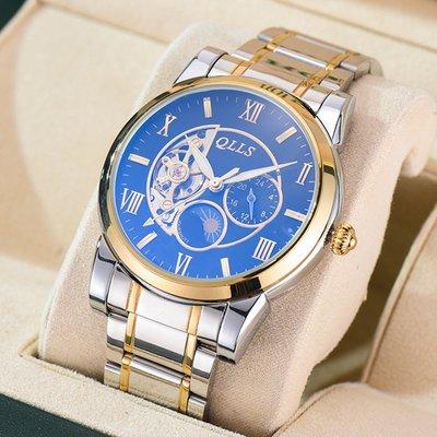 Louis手錶奇洛時正品男士機械錶全自動時尚腕錶鏤空防水鋼帶手錶大錶盤男錶