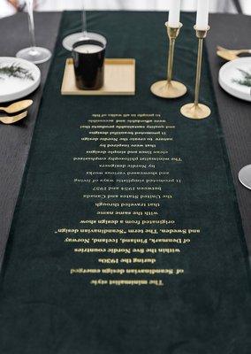 MOR 北歐風簡約天鵝絨字母印花質感桌旗 拍攝道具背景布 家飾 電視櫃鞋櫃 餐廳民宿 墨綠色 35*180 (不含桌布)