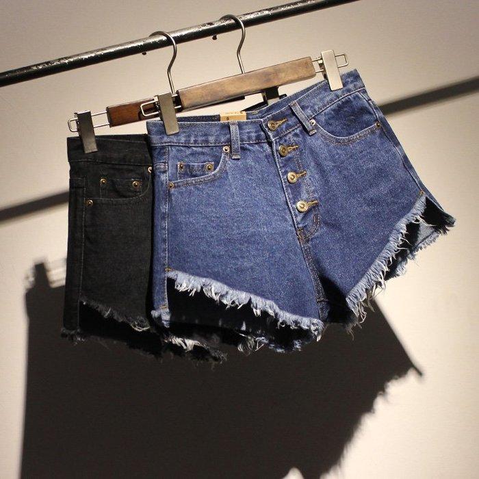 夏季歐美復古風潮牛仔短褲女靴褲韓版流蘇4粒扣高腰短褲