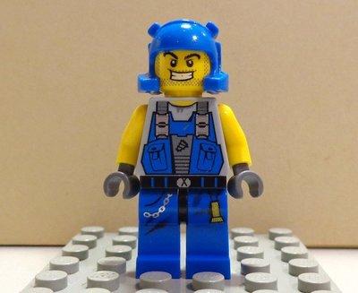 【LEGO樂高】 Power Miners能量探索系列 藍色安全帽 藍色背心工作服上衣礦工 (雙表情、頭部雙面印刷)