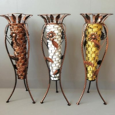 古典藤編織制花瓶三角鐵藝花架花籃花器葉脈干花客廳臥室裝飾花盆
