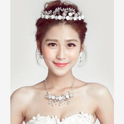 5Cgo~鴿樓~會員有 524484321552 新娘頭飾韓式皇冠項鏈耳環三件套裝婚紗配飾
