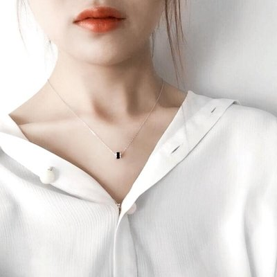 小范仙日韓簡約小清新925純銀轉運輪項鍊 鎖骨鍊吊墜生日送女友