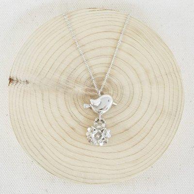 [ Cami Handicraft ] 繡球花鳥兒短鏈 - 純銀款 精緻趣味風格 文青最愛 活動式設計花朵可擺動