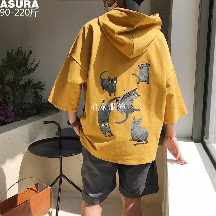 有家服飾貓咪印花七分袖t恤男短袖加肥加大碼潮胖子寬松連帽薄款夏裝日系