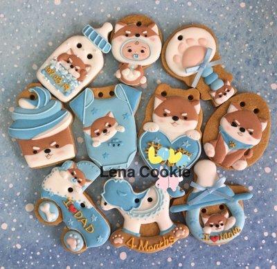可接急單 收涎餅乾 狗寶貝寶系列 10片 男寶寶 藍色系 糖霜餅乾 生日禮物 手工餅乾 不挑款(Lena Cookie)