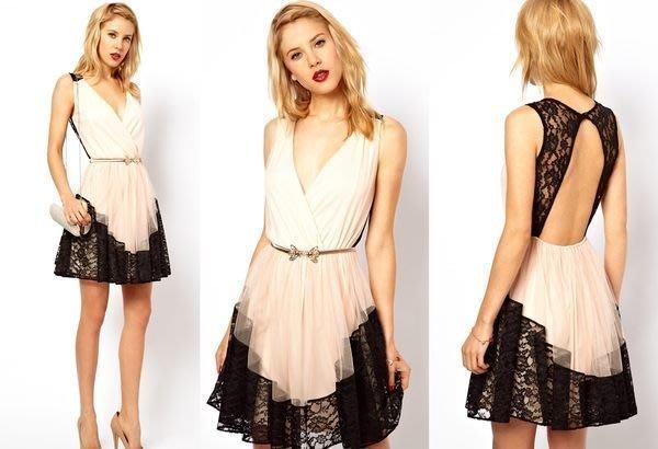 【ASOS WORLD】英國直送 現貨特價 性感V領低胸浪漫黑色蕾絲滾邊露背誘人小禮服洋裝  UK10
