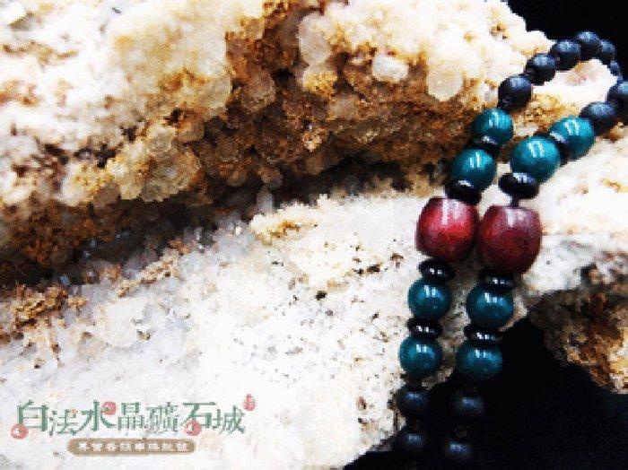 白法水晶礦石城    手工製作 黑瓷珠&木珠&金剛結& 綠色木珠  鍊寬6mm 項圈項鍊  首飾材料