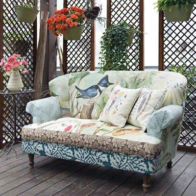 【Eze Art Deco】美國設計師傢飾,Susan鳥藝拼接雙人沙發雙人沙發有扶手休閒沙發咖啡沙發座椅民宿開店居家