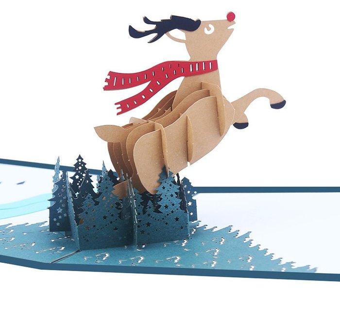 聖誕節限定卡片 聖誕麋鹿 * 耶誕卡 生日卡 迎賓卡 邀請卡 明信片 賀年卡 3D 立體紙雕 麋鹿 雪人 聖誕老公公