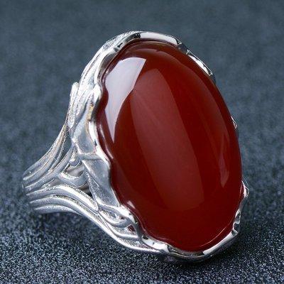 白玉世家珠寶翡翠 大氣紅玉髓戒指 加大尺寸女款銀鑲玉戒指 玉石成品時尚復古玉戒指