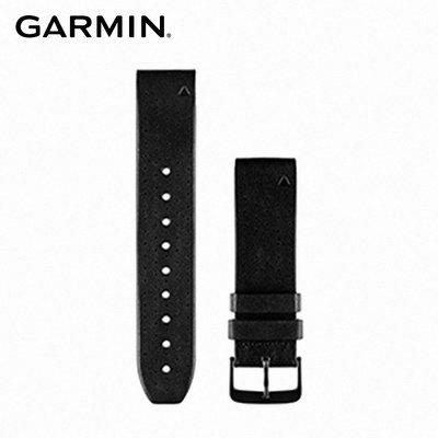 【桃園幸運草】GARMIN QUICKFIT 22mm 黑色皮革錶帶