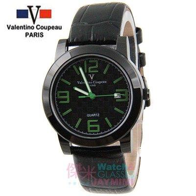 【JAYMIMI傑米】Valentino范倫鐵諾古柏皮帶手腕錶-格紋法式浪漫主義彩色刻度藍水晶玻璃 黑綠 特價 1450
