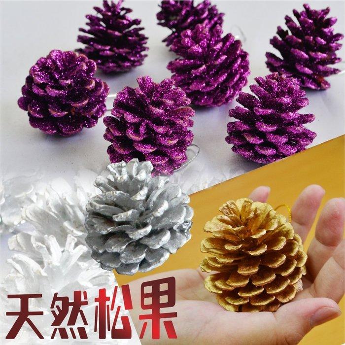 天然松果掛飾  10顆裝 金 銀 紫3色任選 大尺寸 聖誕樹 花藝設計 聖誕裝飾 聖誕 耶誕佈置必備 聖誕特區
