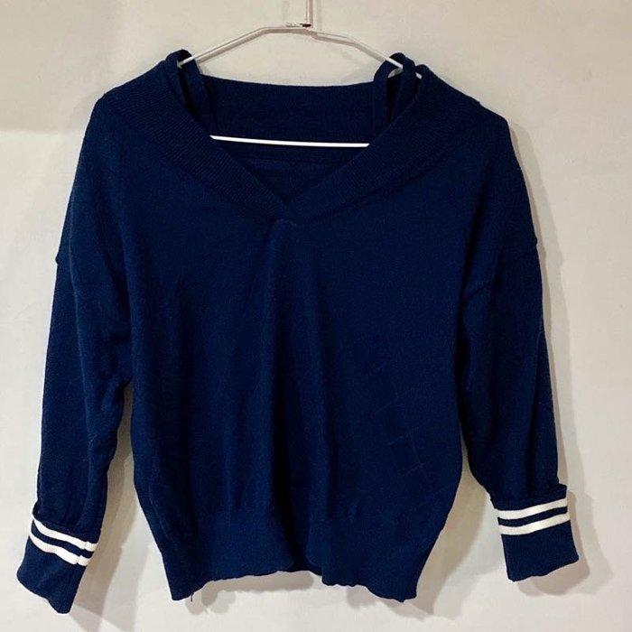 全新 細肩帶 造型 毛衣 寬領 海軍藍 藍色 菱格壓紋 上衣 衣服 針織 斜肩 深藍 韓系