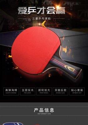 戰艦三星乒乓球拍初學者 直拍橫拍兒童學生乒乓球球拍2只裝