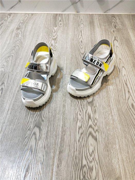 創意夏季女鞋 歐洲站夏款真皮女鞋休閑時尚百搭魔術貼牛皮老爹鞋厚底涼鞋潮