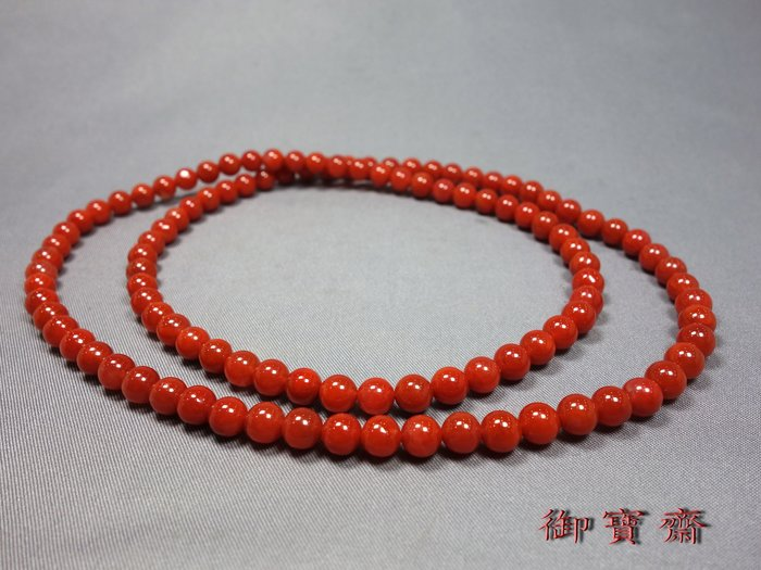 【御寶齋】--{南紅圓珠項鍊}--南紅瑪瑙6mm柿子紅色勻濃漂亮..//特價只給第一標 //4