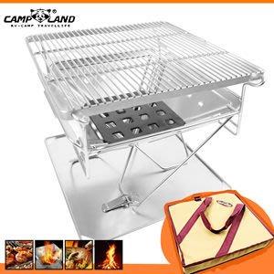 【山野賣客】CAMP LAND 火烽S號焚火台豪華套裝組(附收納袋) RV-ST362 烤肉架 不鏽鋼烤爐