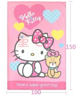最新款㊣HELLO KITTY 熊熊愛你 刷毛毯 懶人毯 墊被毛毯車毯◎童心玩具1館◎