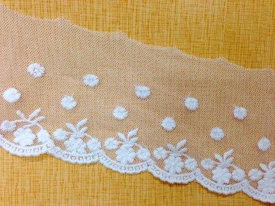 【芬妮卡Fanning服飾材料工坊】小雛菊網布蕾絲 刺繡花邊 DIY手工材料 1碼入 高7cm