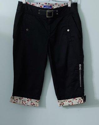 (搬家大出清)日本製BURBERRY BLUE LABEL日本藍標,黑棉質反摺七分褲,尺寸36無內裡無彈性。腰部真皮革繫帶釦鏤刻blue label三宅夏姿LV