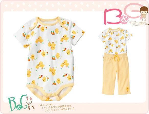 【B& G童裝】正品美國進口GYMBOREE 黃色母子鴨圖樣短袖連身衣6-12-18mos
